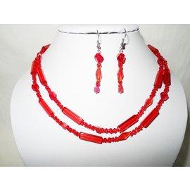 UK Collection Lange Halskette mit Ohrringen in Rottönen