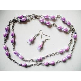 UK Collection Lange Halskette mit Ohrringe, helllila und silberfarben
