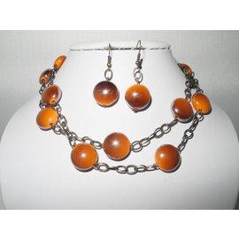 UK Collection Lange Halskette und Ohrringe in bronze- und orangefarben