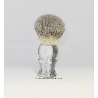 Accessoires Rasierpinsel mit grau marmoriertem Griff, 100 % Dachshaar