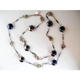 UK Collection Lange Halskette mit Ohrringen in blau und Silbertönen