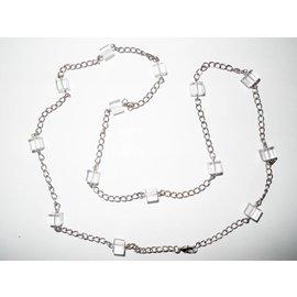 UK Collection Lange Halskette mit Ohrringen in transparent und Silbertönen