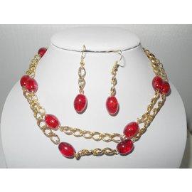 UK Collection Lange Halskette mit Ohrringen in rot und goldfarben