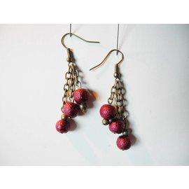 UK Collection Ohrringe, bronzefarben und dunkelrot