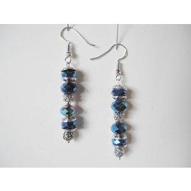 UK Collection Oorbellen, zilverkleur en blauw