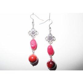 UK Collection Oorbellen, zilverkleur en rood