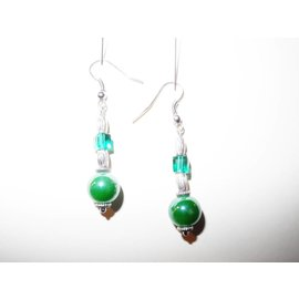 UK Collection Ohrringe, silberfarben und grün