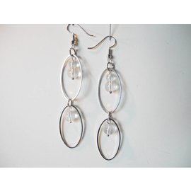 UK Collection Oorbellen, zilverkleur en transparent