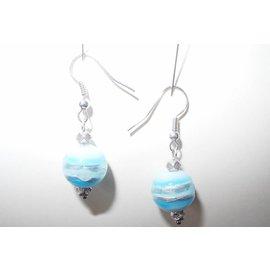 UK Collection Ohrringe, silberfarben und türkis-blauw