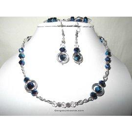 UK Collection Halskette, Armband und Ohrringe in royalblau und silberfarben