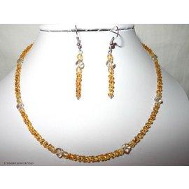 UK Collection Ketting, armband en oorbellen in donkergeel - goudkleur