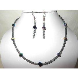 UK Collection Halskette, Armband und Ohrringe in blau und stahlgrau
