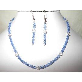 UK Collection Ketting, armband en oorbellen in blauw en transparent