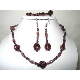 UK Collection Ketting, armband en oorbellen in braambes en purper