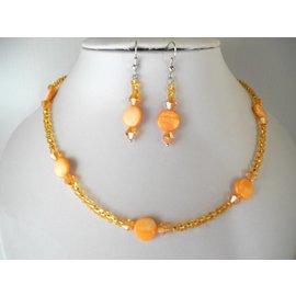 UK Collection Ketting, armband en oorbellen in oranje-goudgeel