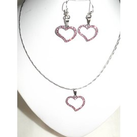 UK Collection Zierstahldrahtkette mit rosa Herzanhänger
