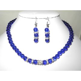 UK Collection Halskette mit royal blauen Glasperlen und Ohrringen