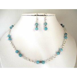 UK Collection Ketting, armband en oorbellen in zilverkleur en blauw