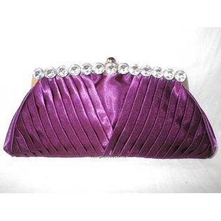 Fashion Only Abendtasche, brombeer farben mit silberfarbenem Bügel