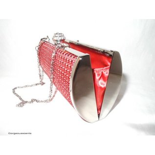 Fashion Only Abendtasche, oval, mit roten Metall Pailletten