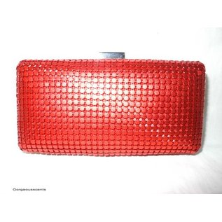 Fashion Only Abendtasche, rot mit Metallpailletten