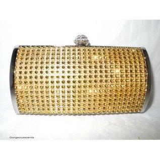 Fashion Only Abendtasche, oval, mit goldfarbenen Metall Pailletten
