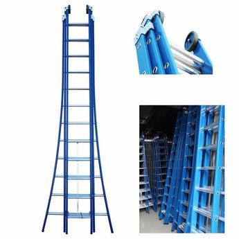 ASC 3 delige ladder 3x14 treden (blauwe coating)