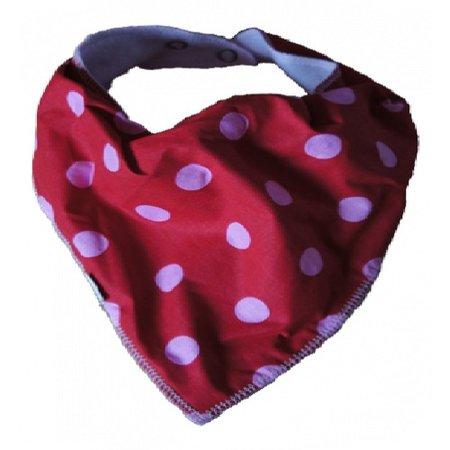 Kleine Lucas Kwijlslab rood met roze grote stippen