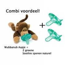 Combivoordeel Wubbanub aapje + 2 Soothie's
