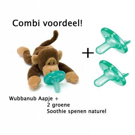 Wubbanub Wubbanub aapje + 2 Soothie Spenen