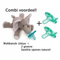 Combivoordeel Wubbanub olifant + 2 Soothie's