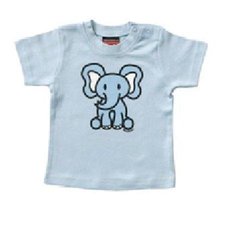 Mick & Malu Blauw babyShirt Olli olifant van Mick&Malu