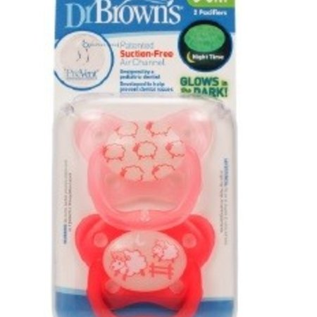 Dr.Browns Glow in the dark fopspeen Fase 1 roze