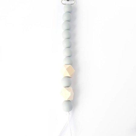 Chewies & more Chewie Clip Beads&Wood Licht Grijs