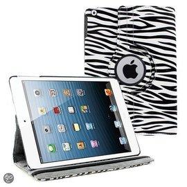 Ntech Ntech iPad Air 360 Rotatie Hoes, Cover, Case Zebra Design kleur Wit / Zwart