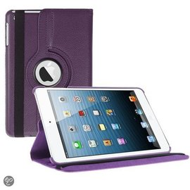 Ntech iPad Mini 3 Hoes Cover Multi-stand Case 360 graden draaibare Beschermhoes paars