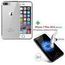 iPhone 7 Plus 5.5 inch tempered glass / screen protector met Gratis Transparant  silicone naked skin tpu hoesje