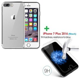 Ntech iPhone 8+ / 7+ 5.5 inch tempered glass / screen protector met Gratis Transparant  silicone naked skin tpu hoesje