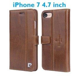 Pierre Cardin Echt Leer cover Pierre Cardin - iPhone 7 4.7 hoesje - Bruin