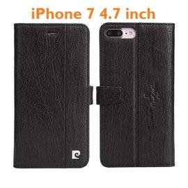 Pierre Cardin Echt Leer Cover Pierre Cardin  iPhone 7 4.7 hoesje  Lederen Book Case Zwart