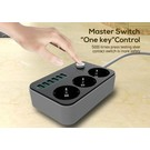 Universal Outlet With 6 USB Charging Port (Black)