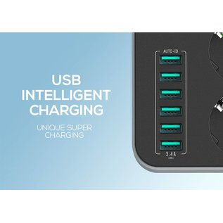 Merkloos Universal Outlet With 6 USB Charging Port (Black)