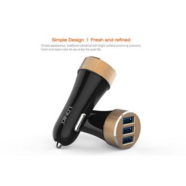 Merkloos Triple USB 5.1A Fast Charging Car Charger - Black