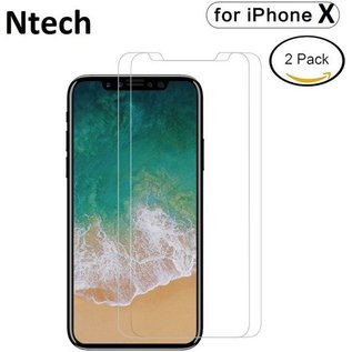 Ntech 2 pack Screen Protector / Anti-Scratch Tempered Glass 2.5D 9H (0.3mm) iPhone X / Xs