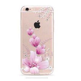 OU case OU Case 3D Roze Bloem Met Studs Soft TPU Hoesje iPhone 6 / 6S