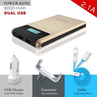 Konfulon Power Bank 2X USB  8000 mAh + Car Charger + Autohouder + Micro & Lighting Combi Kabel Goud