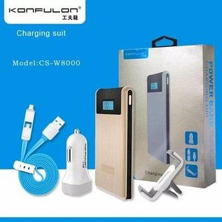 Konfulon Konfulon Power Bank 2X USB  8000 mAh + Car Charger + Autohouder + Micro & Lighting Combi Kabel Zilver