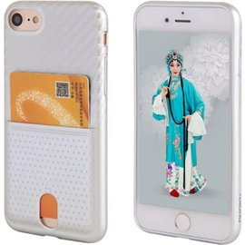 Nuoku Nuoku Zilver Back Cover Hoesje Carbon Print Met Cardslot iPhone 8 / 7 Plus