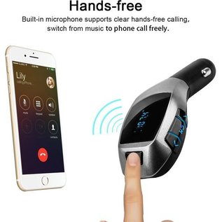 Ntech X5 MP3 Bluetooth Adapter / Wireless Bluetooth FM Transmitter Radio Adapter Car Kit Met USB SD Card Reader en Calling Remote Control  voor iPhone X / Xs / 8 / 8 Plus / SE / Samsung Galaxy S9 / S9 Plus / Note 8 / S8 / S8 plus / S7 edge / S7 / Huawei / LG /