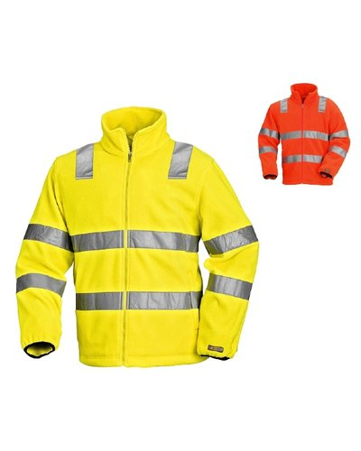 Blaklader Fleecejas High Vis met striping.